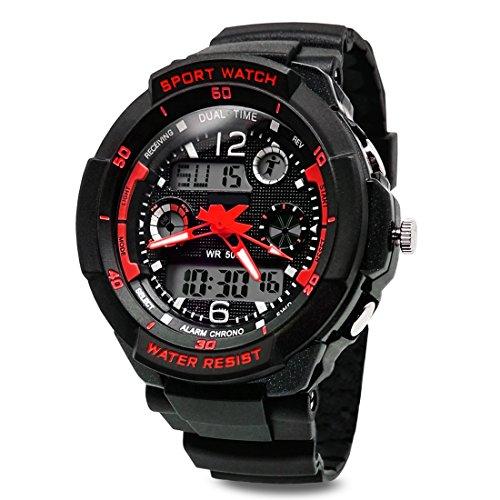 TOPCABIN Jungen Uhren Mädchen Uhren Kinder Armbanduhr Jungen Digital Analog Wasserdicht Sports Uhren für Jungen und Mädchen Digital Uhr Sports Uhren Rot