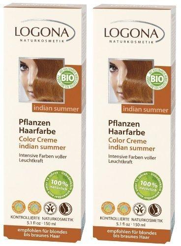 Logona Color Creme Henna Haarfarbe Pflanzenhaarfarbe indian summer im Doppelpack 2 x 150 ml