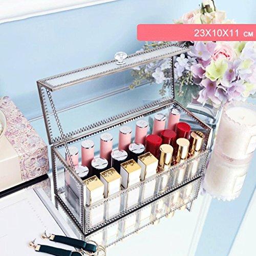 UOMUN Étui de Maquillage Boîte de rangement en verre transparent cosmétique grande capacité rouge à lèvres rack antipoussière avec couvercle en métal cadre non acrylique bureau commode salle de bain rectangle