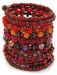 Breit gewickelten Keramik, Acryl, Glas Bead Armband (rot, Koralle, Orange, Braun)–verstellbar