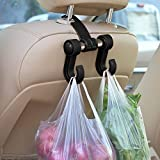 #7: KM Auto Car Seat Headrest Bag Hook Hanger (Black)