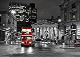 StickersWall London City Red Bus Night Scenery View Wall Mural Photo Wallpaper Picture Self Adhesive ( 342cm(W) x 242cm(H)) 1039