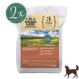 Wildes Land | Trockenfutter für Hunde | Nr. 3 Pferd | 24 kg | mit Kartoffeln und Wildkräutern | Glutenfrei & Hypoallergen | Extra viel Fleisch | Alle Hunderassen Akzeptanz und Verträglichkeit