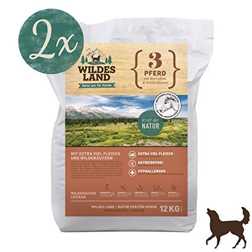 Wildes Land | Trockenfutter für Hunde | Nr. 3 Pferd | 24 kg | mit Kartoffeln und Wildkräutern | Glutenfrei & Hypoallergen | Extra viel Fleisch | Alle Hunderassen | Beste Akzeptanz und Verträglichkeit