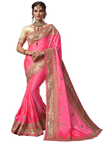 Nivah Fashion Women's Satin Embroidery Work With Diamond's Material Saree K715(Pink)
