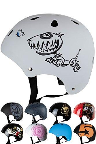 Skullcap® Casco BMX - Casco Skate - Casco Bici, Casco Niños, Blacno, Talla S, Robodog