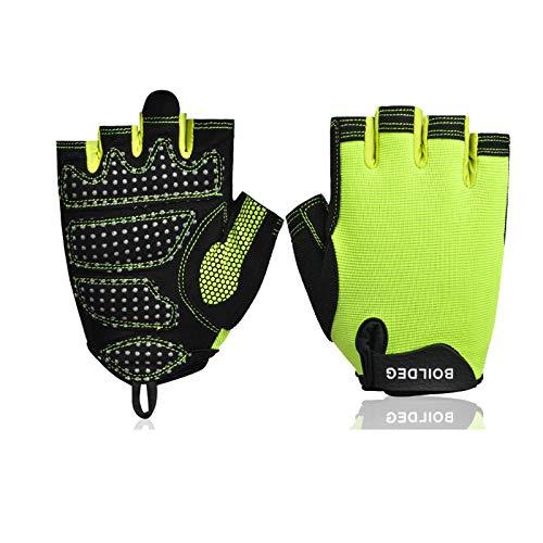 Epinki Handschuhe Halbe Fingerhandschuhe Hantel Gewichtheben Atmungsaktiv Rutschfest Sport Handschuhe Groß Handschuhe Grün