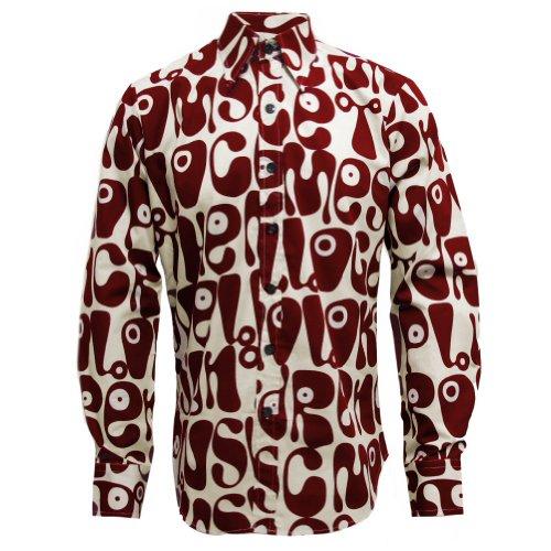 Chenaski - Retro-Hemd Moloko - 70er Jahre Hippie Pop Art - Creme/Weinrot - M (70er Jahre Hippie Mode)