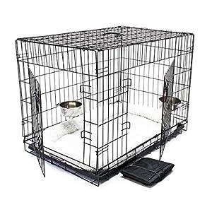 WilTec Cage Box de Transport Pliable Set Complet pour Chien et Chat Caisse Mobile L 107x71x76cm Kit