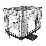 WilTec Cage Box de Transport Pliable Set Complet pour Chien et Chat Caisse Mobile M 90x58x63.5cm Kit