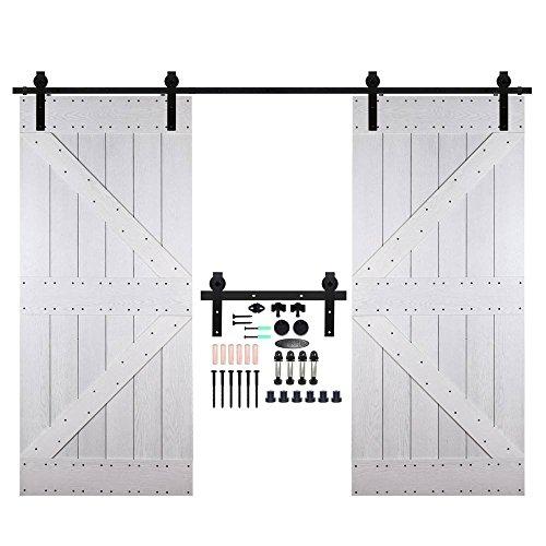 CCJH 9FT-274.5cm Herraje para Puertas Kit de Accesorios para Puerta Correderas Juego de Armarios de Acero Corredizos para Puertas Corredera Riel Rueda para Puertas de Madera Dobles