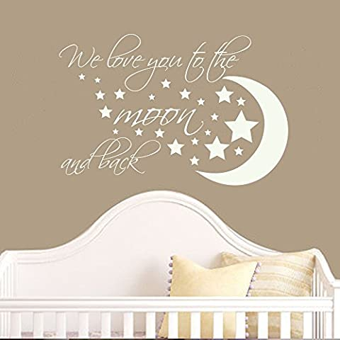 Vinilo adhesivo para pared decoración vivero pared adhesivo citas – We Love You To The Moon And Back – guardería pared vinilo adhesivo – luna y estrellas para niños habitación Decor (morado de Hortensia, 16,5
