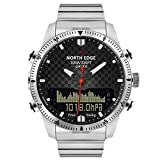 NORTH EDGE Männer Tauchen Sport Digitaluhr Mens Military Armee Luxus Full Steel Business Uhren Wasserdicht 100m Höhenmesser Kompass Multifunktions-Armbanduhr