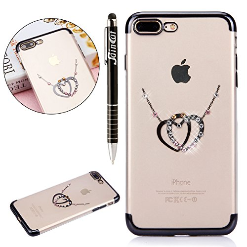 Custodia iPhone 7 Plus, iPhone 7 Plus Cover Silicone, SainCat Cover per iPhone 7 Plus Custodia Silicone Morbido, Custodia Bling Glitter Strass Diamante Silicone 3D Design Ultra Slim Silicone Case Ultr Doppio Amore #3