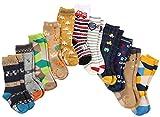 7 Paar Kleinkind Jungen Rutschfeste Socken Knie Hoch Baumwolle Dick mit Griffen, Baby Jungen Anti-Rutsch-Socken (7 Paar, 3-5 Jahre)