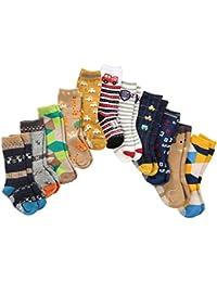 7 Pares de Calcetines Anti Deslizantes Niño Pequeño Hasta la Rodilla Algodón Grueso con Puños, Calcetines Anti Deslizantes Bebé Niños