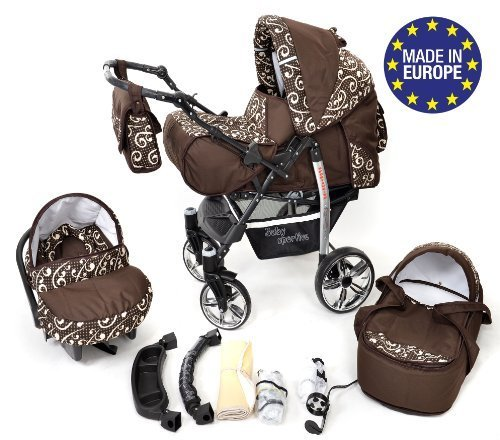 Sportive X2, 3-in-1 Travel System incl. Baby Pram with Swivel Wheels, Car Seat, Pushchair & Accessories (3-in-1 Travel System, Brown & Wawy Lines)  3 in 1 Travel System All in One Set - Pram, Car Carrier Seat and Sport Buggy + Accessories: carrier bag, rain protection, mosquito net, changing mat, removable bottle holder and removable tray for your child's bits and pieces Suitable from birth, Easy Quick Folding System; Large storage basket; Turnable handle bar that allows to face or rear the drive direction; Quick release rear wheels for easy cleaning after muddy walks Front lockable 360o swivel wheels for manoeuvrability , Small sized when folded, fits into many small car trunks, Carry-cot with a removable hood, Reflective elements for better visibility 1