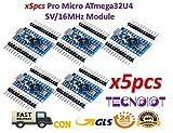 TECNOIOT 5pcs Pro Micro ATmega32U4 5 V/16MHz Module with Pin Header for arduino Leonardo |5 stücke Pro Micro Atmega 32u4 5 v / 16 MHz Modul USB Micro-Controller Board Für Arduino Leonardo