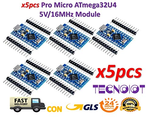 TECNOIOT 2pcs Pro Micro ATmega32U4 5 V/16MHz Module