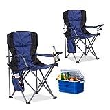 Relaxdays 2X Campingstuhl Faltbar, mit Getränkehalter, mit Rückenlehne und Armlehne, HxBxT: 93x77x52 cm, Blau-Schwarz