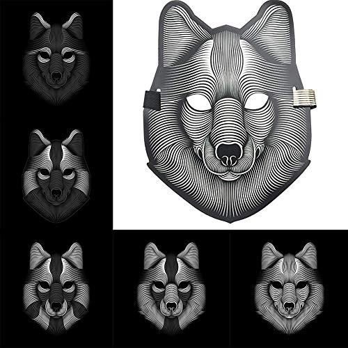 alloween Masken Musik Sprachsteuerung / Full Face Light up Maske (Wolf) ()