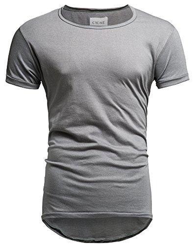 Crone Herren Kurzarm Rundhals Basic Oversize Slim Fit T-Shirt (L, Grau) -