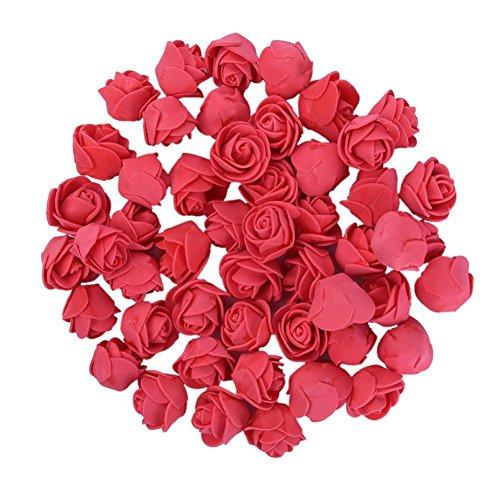 Sunsline 50 Stücke Gefälschte Künstliche Schaum Rose Blume Köpfe Blossom Party Home Room Decor Lot (Rot)