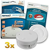 3X Detector de Humo Nemaxx Mini-FL2 Mini Detector de Fuego y Humo Detector con batería de Litio de Acuerdo con la Norma DIN EN 14604 + Nemaxx Pad de fijación Adhesiva Quickfix NX1