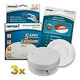3X Detector de Humo Nemaxx Mini-FL2 Mini Detector de Fuego y Humo Detector con batería de Litio de Acuerdo con la Norma DIN EN 14604 + Nemaxx Pad de f