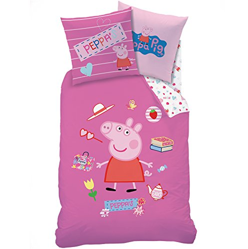 Peppa Pig–Funda de edredón (140x 200) + funda de almohada (63x 63)–Juego de cama