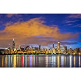 Pitaara Box PB Chicago Downtown Skyline & Lake Michigan, Illinois USA Peel & Stick Vinyl Wall Sticker 30 x 20inch