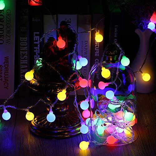 Globe Lichterkette Bunt, VegaHome 10M 100er LED Kugel Lichterkette Innen Außen 8 Modi Strombetrieben RGB Lichterkette für Weihnachten Party Garten Hochzeit Balkon Deko, Mehrfarbig[Energieklasse A++] (Lichterketten Globe Glas)