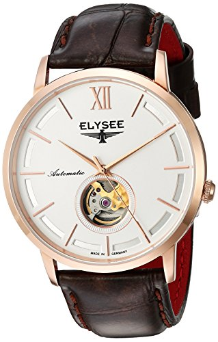 Elysee Picus Mens Watch Rose Gold with Brown Leather Strap
