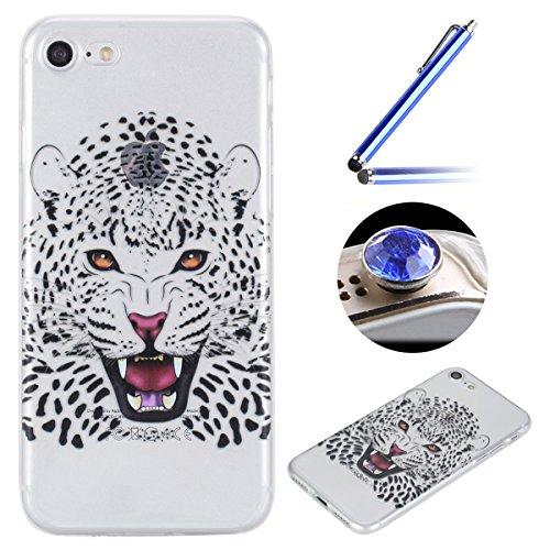 """Coque [ iPhone 7 4.7"""" ],Etsue TPU Gel Doux Coque Housse étui pour iPhone 7 4.7"""",Etui de Protection Cas Ultra-Mince Transparent Bumper Cover pour iPhone 7 4.7"""",Anti-rayures Peint Motif Vogue Case Cover Tigre Blanc"""
