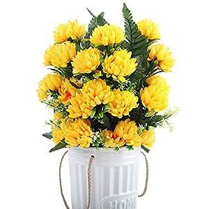 XFLOWR 52cm 27 Cabezas Seda Gerbera Margarita Crisantemo Flores Artificiales para Cementerio Tumba Boda Inicio Decoración del Partido 3pcs / Set Blanco