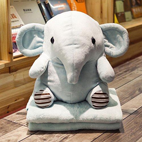 WYQLZ Dessin animé mignon oreiller couette double usage bureau déjeuner pause couverture de coussin ( conception : Elephant )