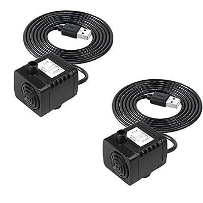 TSSS portable USB DC 5V circuler Brushless Petite pompe à eau 180L/H Pompe submersible amphibischen Pompe pour le poisson réservoir à eau Paysage Plantes de balcon d'arrosage Hydroponics–avec câbles d'alimentation 1,4m