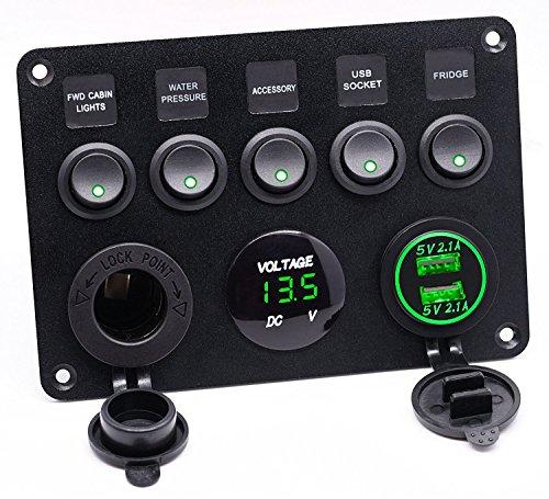 5 Gang Kippschalter Panel mit Dual USB Steckdose ät 4.2A + Wasserdicht LED Voltmeter +Zigarettenanzünder für 12 V ~ 24V Auto Boot Marine LKW SUV Baufahrzeug (Grün) -