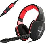 [2017 neuestes Design] EasySMX ESM939P Plus Wired Gaming Headset für PS4 Kompatibel mit PC Mobile Tablet Closed-Back Earcups Abnehmbare Mikrofon In-line Lautstärkeregelung (Schwarz+Rot)