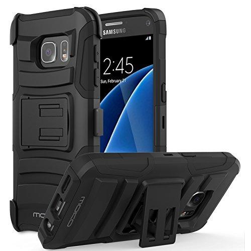 MoKo Galaxy S7 Hülle - [Heavy Duty Serie] Outdoor Dual Layer Armor Case Handy Schutzhülle Schale mit Gürtelclip und Standfunktion für Samsung Galaxy S7 5.1 Zoll 2016 Touch Display Smartphone, Schwarz
