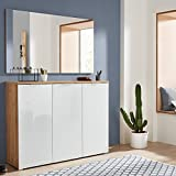 Garderobenset in Navarra-Eiche weiß, Schuhschrank mit weißer Glasfront und Spiegel