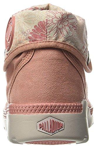 Palladium - Boots toile convertible en booty ou bottillons par le cou réversible, avec des lacets et bout en caoutchouc Rose