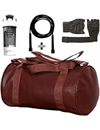 Brown Leather Gym Bag , Gym Gloves, Black Skipping Rope And Black Cyclone Shaker Shaker Bottle Combo Pack For... - B077XX983K