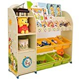 SZFMMY ® Kids Kinder Spielzeug Stauraum Bücherregal Buch Regal 3Etagen Play Organizer Boxen Vitrine Spielzimmer Schlafzimmer Schublade Kinder Möbel (beige)