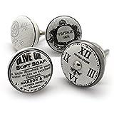 Pushka Home Set de 4 porcelaine céramique noir gris blanc style vintage boutons. 4x poignées DANS L'ANTIQUITÉ inspiré huile d'olive,vintage crest,cadran,et tampon Motifs. Ornements pour décorer votre