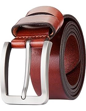 Blasea, cintura da uomo, in pelle pieno fiore, con fibbia, stile casual, ideale per jeans