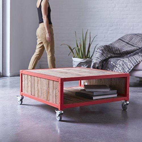Tikamoon Atelier Table Basse - Bois - Rouge - 80 x 80 x 37 cm