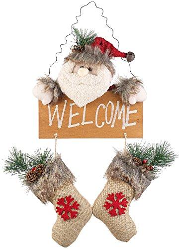 Weihnachtsmann-Tür-Dekoration mit Welcome-Schriftzug, zum Aufhängen (Dekofiguren Weihnachten) ()