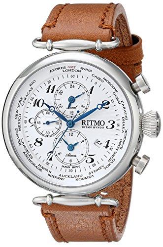 Ritmo Mundo Unisex 704/2 SS White World Time Analog Display Quartz Brown Watch