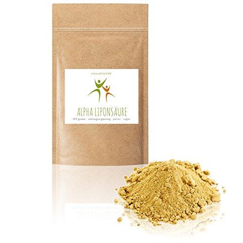 Alpha Liponsäure Pulver | 100 g | Antioxidationsmittel | 100% VEGAN | Glutenfrei | Laktosefrei | OHNE Hilfs- u. Zusatzstoffe (Alpha-liponsäure-pulver)
